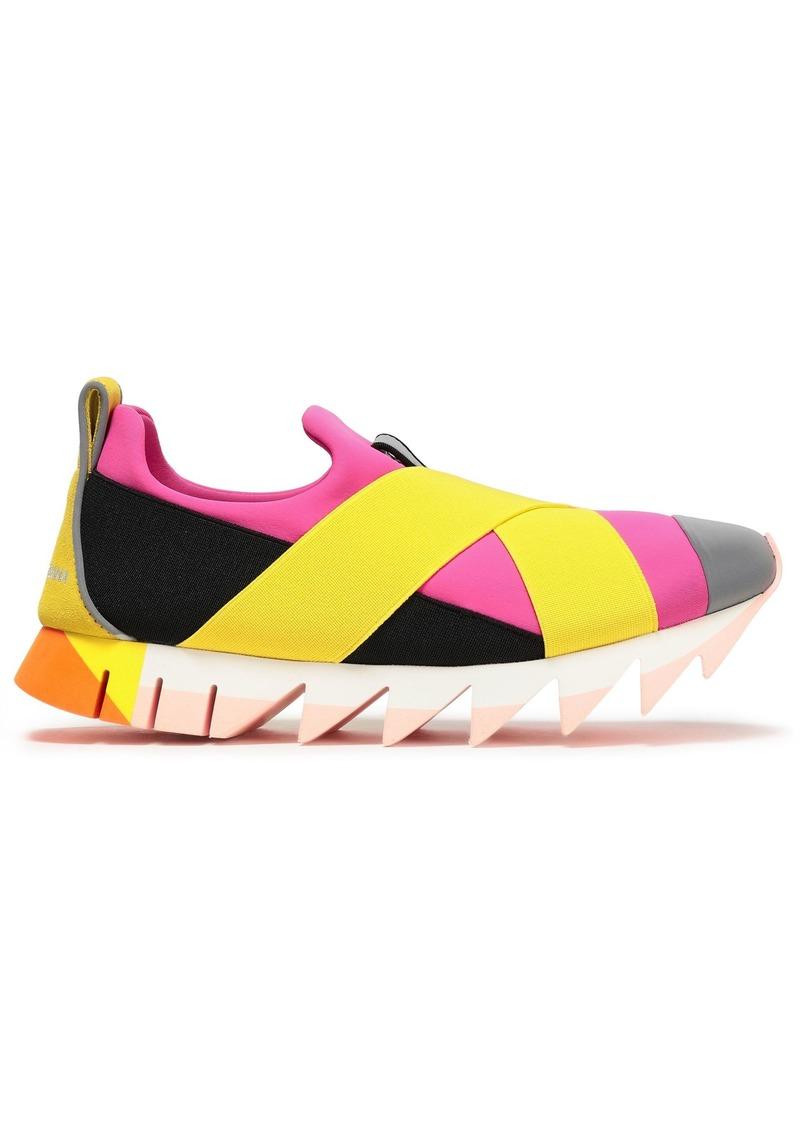 Dolce & Gabbana Woman Suede-trimmed Color-block Neoprene Slip-on Sneakers Yellow