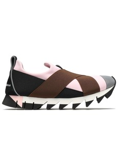 Dolce & Gabbana Woman Suede-trimmed Color-block Neoprene Slip-on Sneakers Baby Pink