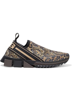 Dolce & Gabbana Woman Super King Leopard-print Stretch-knit Slip-on Sneakers Animal Print