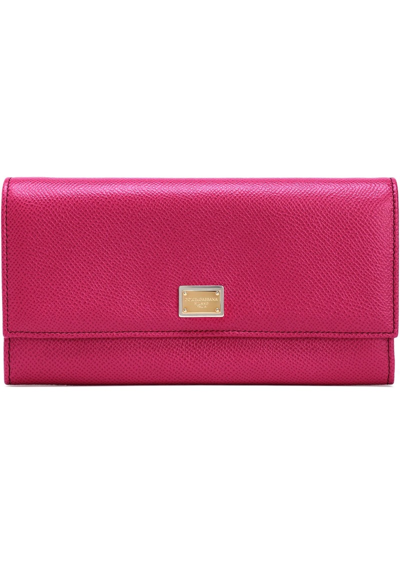 Dolce & Gabbana Woman Textured-leather Continental Wallet Fuchsia