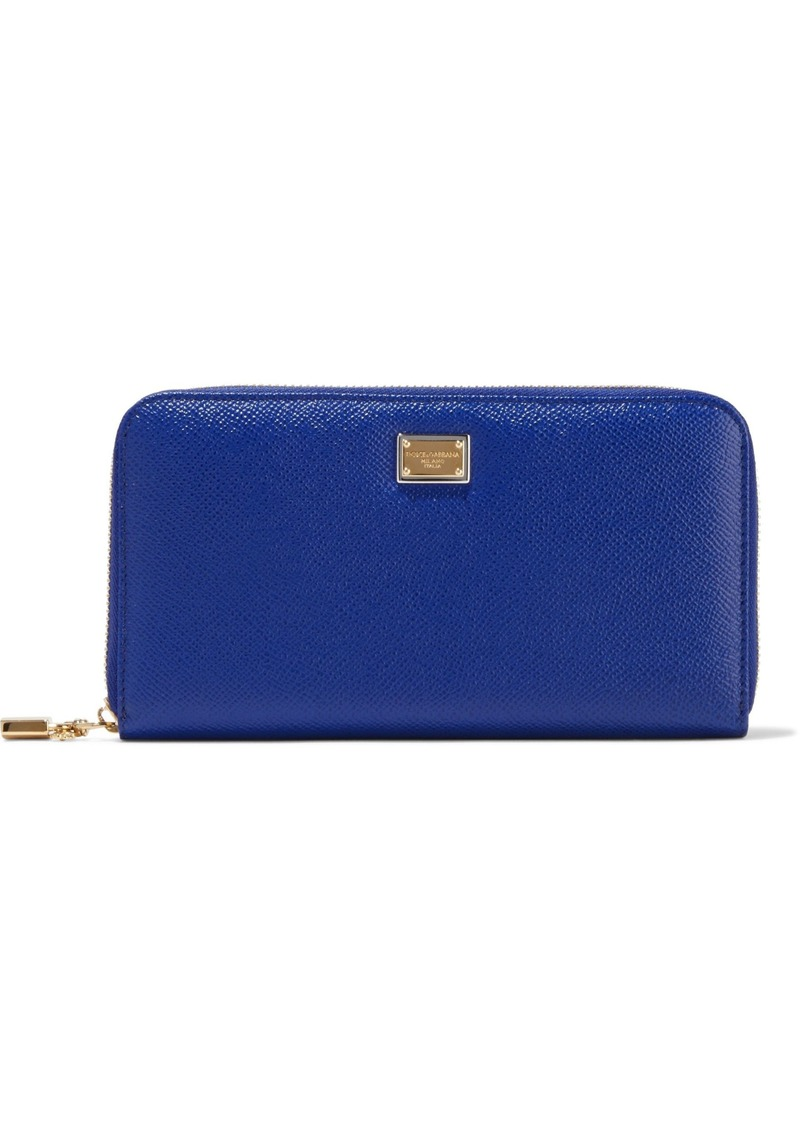 Dolce & Gabbana Woman Textured-leather Continental Wallet Royal Blue