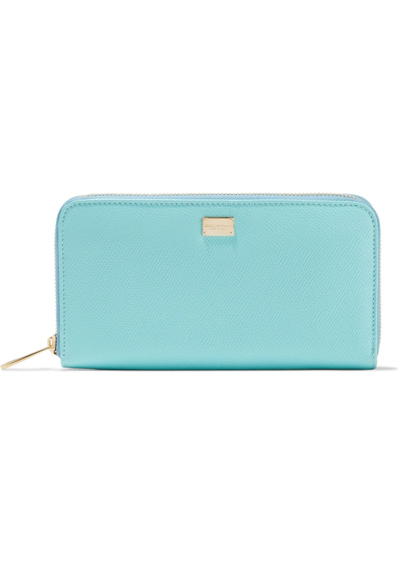 Dolce & Gabbana Woman Textured-leather Wallet Sky Blue