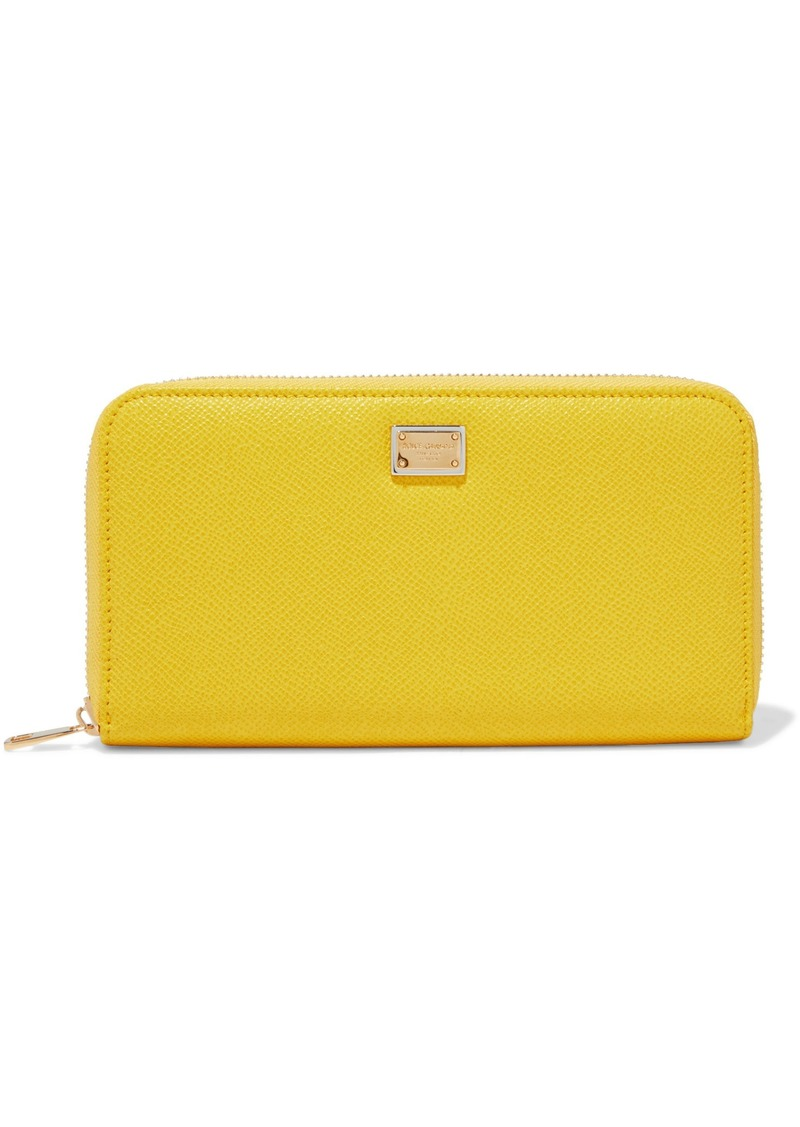 Dolce & Gabbana Woman Textured-leather Continental Wallet Yellow