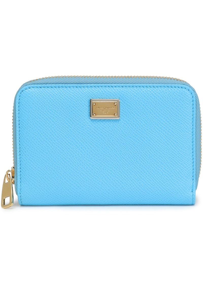 Dolce & Gabbana Woman Textured-leather Wallet Light Blue