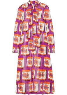 Dolce & Gabbana Woman Tie-neck Printed Silk-chiffon Midi Dress Violet