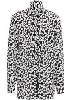 Dolce & Gabbana Woman Tie-neck Printed Silk-crepe Blouse Black