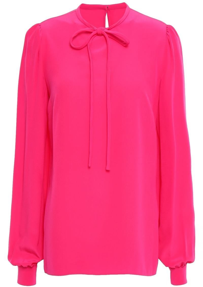 Dolce & Gabbana Woman Tie-neck Silk Crepe De Chine Blouse Bright Pink