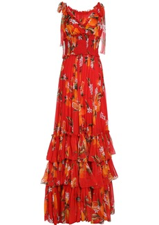 Dolce & Gabbana Woman Tiered Floral-print Silk-chiffon Gown Tomato Red