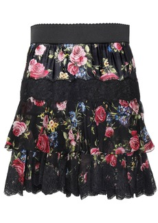Dolce & Gabbana Woman Tiered Floral-print Voile Mini Skirt Black