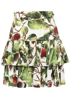 Dolce & Gabbana Woman Tiered Printed Cotton-poplin Mini Skirt White
