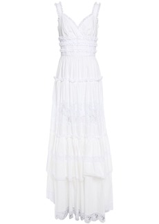Dolce & Gabbana Woman Tiered Ruffled Lace-trimmed Cotton-blend Poplin Maxi Dress White