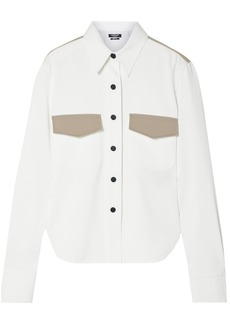 Dolce & Gabbana Woman Two-tone Cotton-twill Shirt White