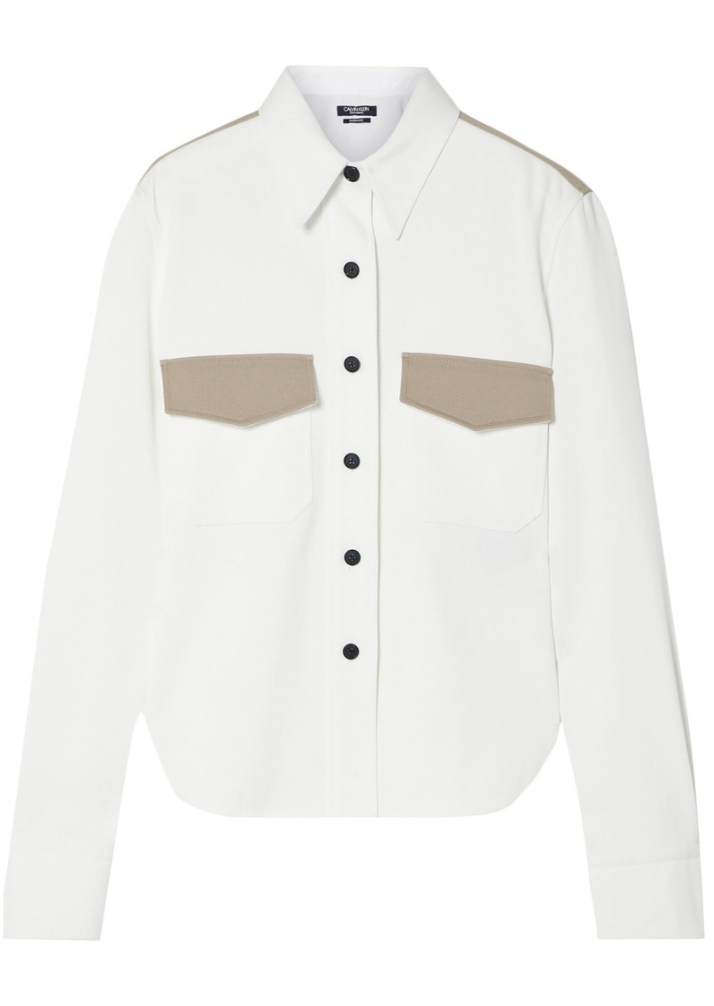 Dolce & Gabbana Woman Two-tone Cotton-twill Shirt White