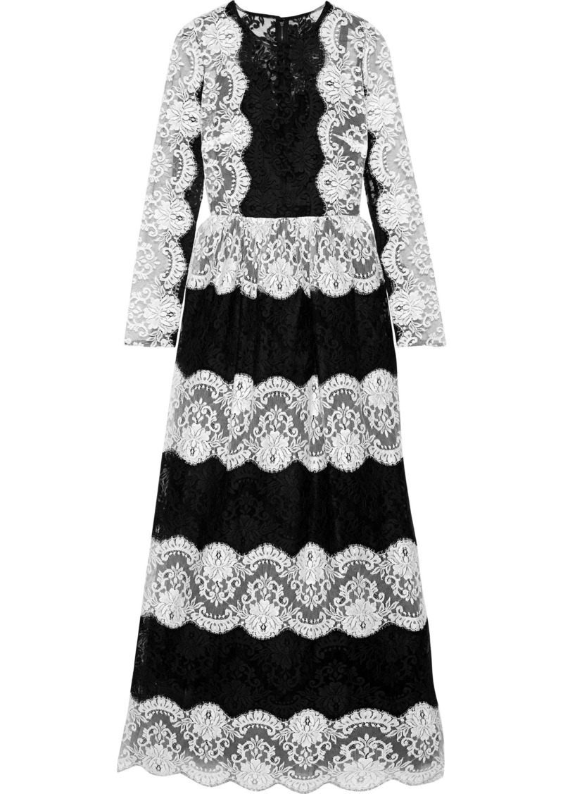 Dolce & Gabbana Woman Two-tone Lace Gown Black