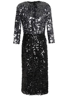 Dolce & Gabbana Woman Two-tone Sequined Tulle Dress Anthracite