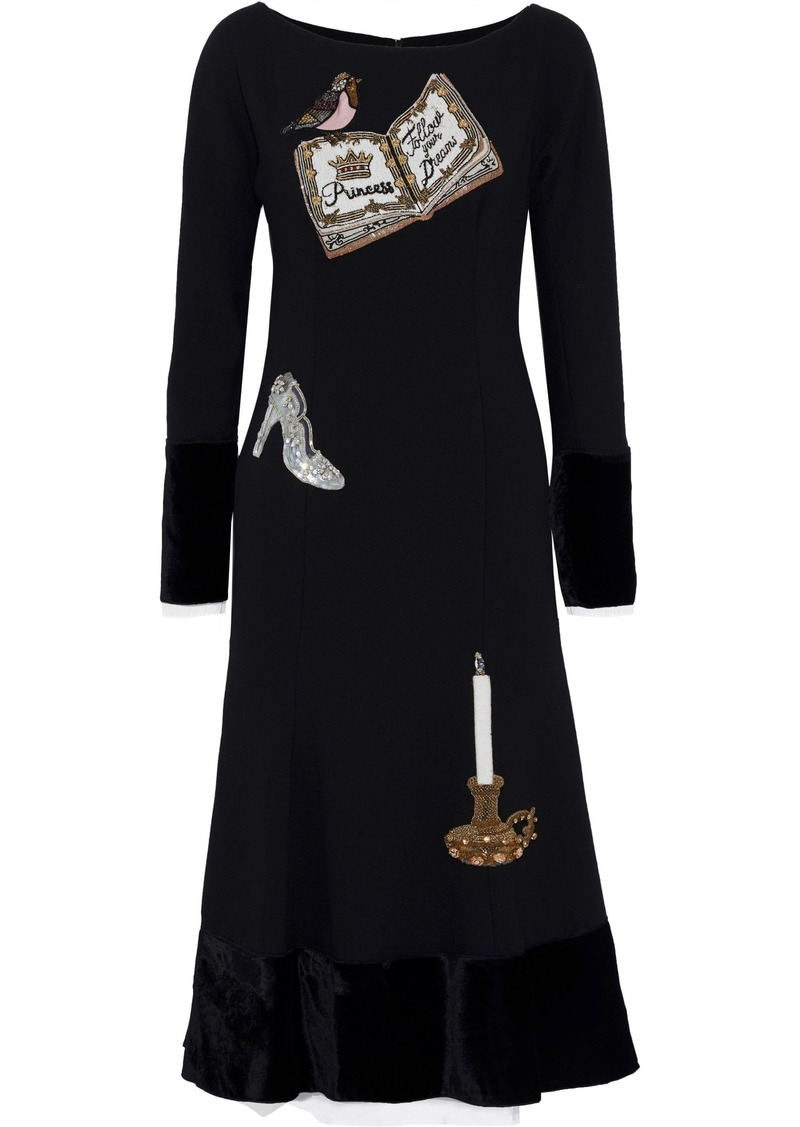 Dolce & Gabbana Woman Velvet-paneled Appliquéd Wool-blend Midi Dress Black