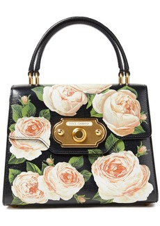 Dolce & Gabbana Woman Welcome Floral-print Textured-leather Tote Black