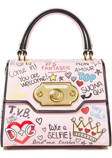 Dolce & Gabbana Woman Welcome Printed Leather Tote Baby Pink