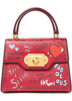 Dolce & Gabbana Woman Welcome Printed Leather Tote Crimson