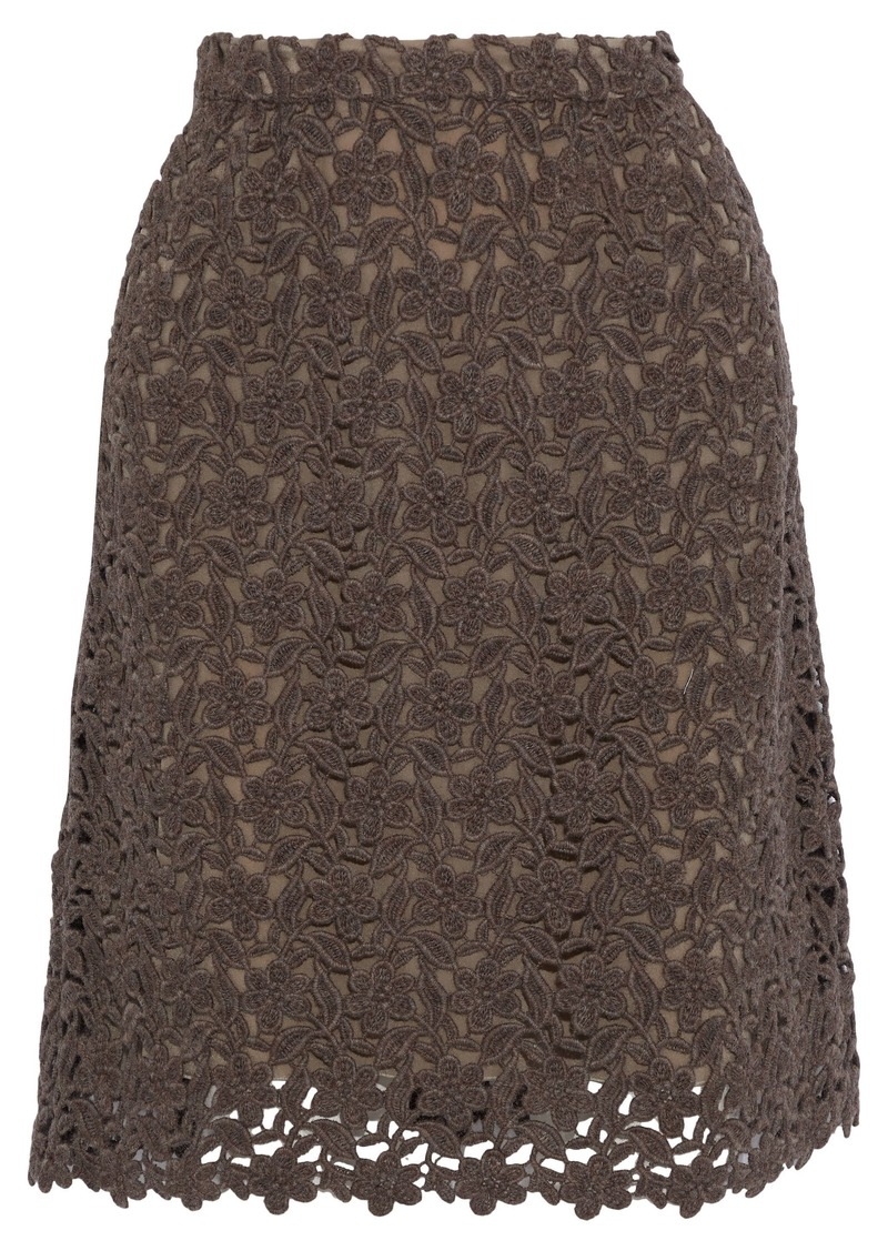 Dolce & Gabbana Woman Wool And Cotton-blend Guipure Lace Skirt Brown