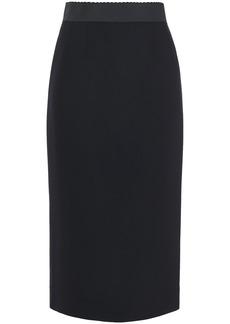 Dolce & Gabbana Woman Wool-blend Crepe Midi Skirt Black