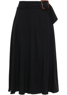 Dolce & Gabbana Woman Wrap-effect Belted Crepe Midi Skirt Black