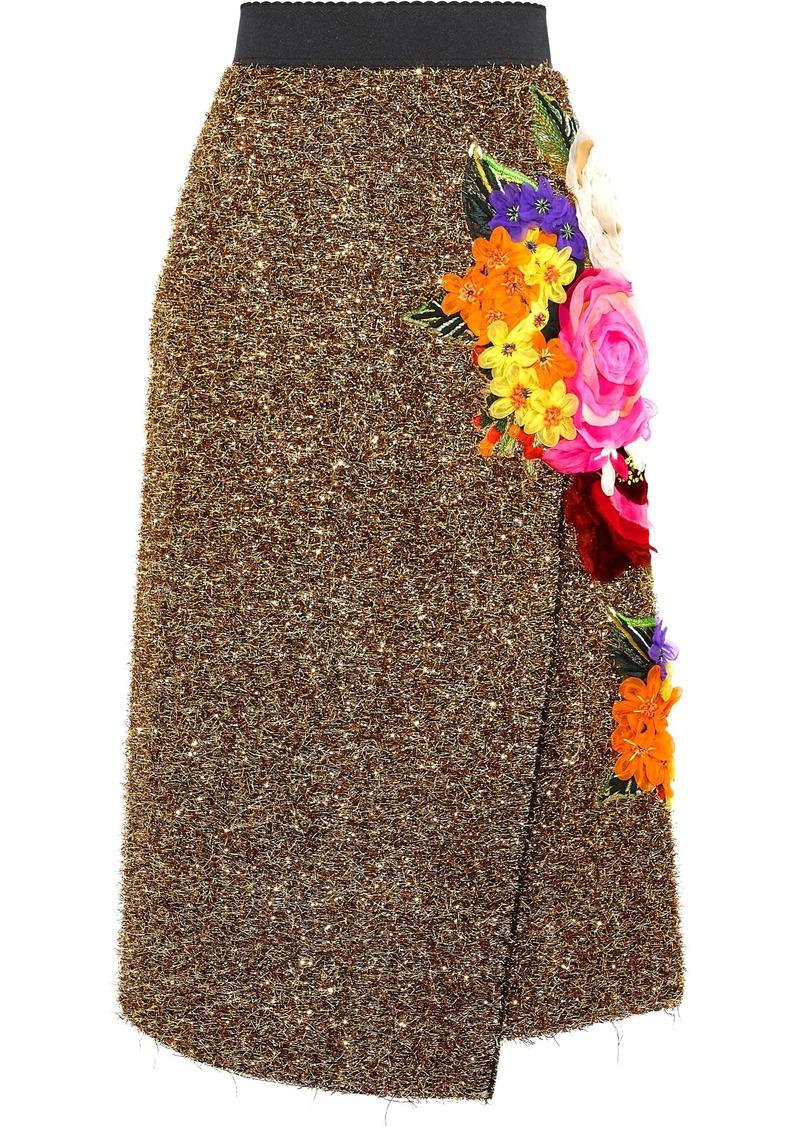 Dolce & Gabbana Woman Wrap-effect Floral-appliquéd Tinsel Skirt Gold