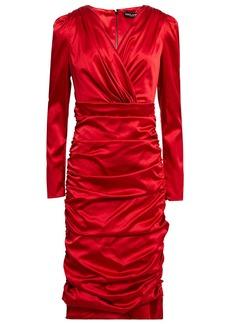 Dolce & Gabbana Woman Wrap-effect Gathered Stretch-silk Satin Mini Dress Red