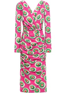 Dolce & Gabbana Woman Wrap-effect Printed Stretch-silk Crepe Dress Bright Pink