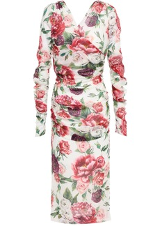 Dolce & Gabbana Woman Wrap-effect Ruched Floral-print Silk-blend Georgette Midi Dress Ivory