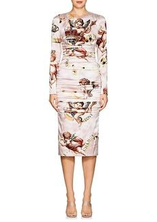 Dolce & Gabbana Women's Cherub-Print Silk Ruched Dress
