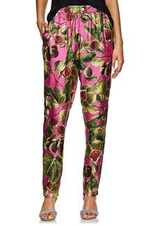 Dolce & Gabbana Women's Fig-Print Silk Pajama Pants