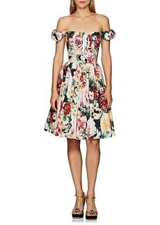 Dolce & Gabbana Women's Floral-Print Cotton Lace-Up Dress