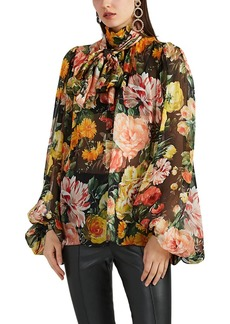Dolce & Gabbana Women's Floral Silk Organza Balloon-Sleeve Blouse
