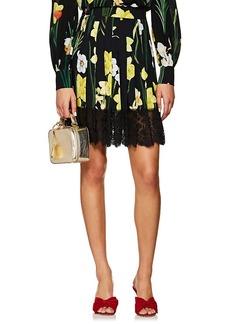 Dolce & Gabbana Women's Iris-Print Pleated Cady Miniskirt