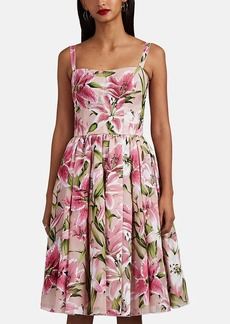 Dolce & Gabbana Women's Lily-Flocked Organza Midi-Dress