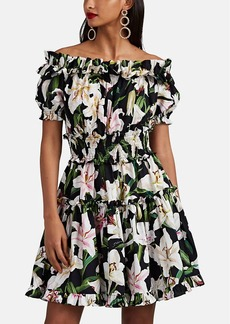 Dolce & Gabbana Women's Lily-Print Cotton Off-The-Shoulder Tiered Dress