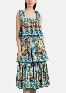 Dolce & Gabbana Women's Maiolica-Print Cotton Tiered Dress
