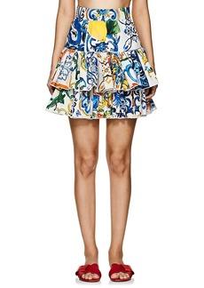 Dolce & Gabbana Women's Majolica-Tile-Print Cotton Miniskirt