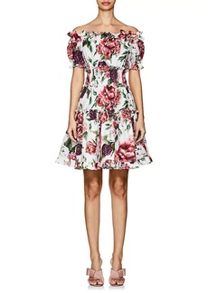 Dolce & Gabbana Women's Peony-Print Cotton Off-The-Shoulder Dress