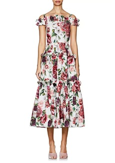 Dolce & Gabbana Women's Peony-Print Cotton Poplin Maxi Dress