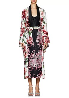 Dolce & Gabbana Women's Peony-Print Matte Silk-Blend Charmeuse Robe