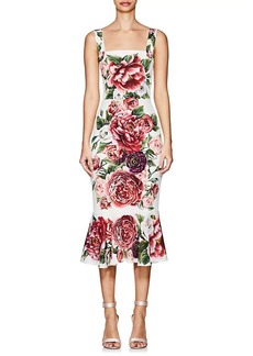 Dolce & Gabbana Women's Peony-Print Matte Stretch-Silk Flounce Dress