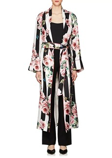 Dolce & Gabbana Women's Striped & Rose-Print Silk Belted Robe Coat