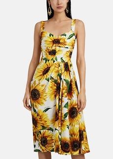 Dolce & Gabbana Women's Sunflower-Print Stretch-Silk Gathered Midi-Dress