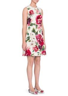 Dolce & Gabbana Wool Stampa Peonie A-Line Dress