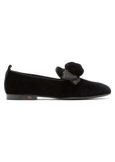Dolce & Gabbana Young Pope rose-appliqué velvet loafers