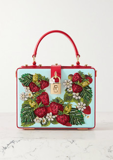 Dolce & Gabbana Dolce Box Embellished Embroidered Printed Textured-leather Tote