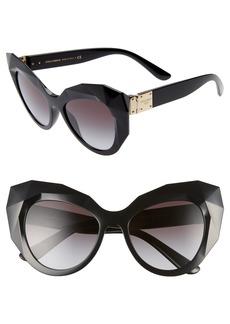 Dolce & Gabbana Dolce&Gabbana 52mm Gradient Beveled Cat Eye Sunglasses