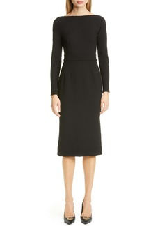 Dolce & Gabbana Dolce&Gabbana Bow Back Long Sleeve Wool Blend Crepe Dress